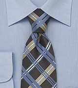 Blue Check Pattern Silk Tie