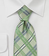 Checkered Silk Tie in Tea Green