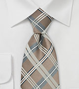 Champagne Check Pattern Tie in XL Length