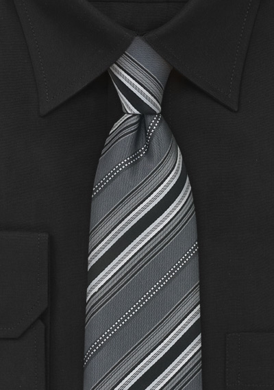 Steel-Gray Striped Silk Tie