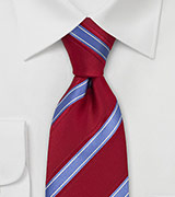 Striped Silk Tie in Red and Bright Blue