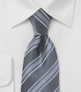 Gray and Blue Striped Tie
