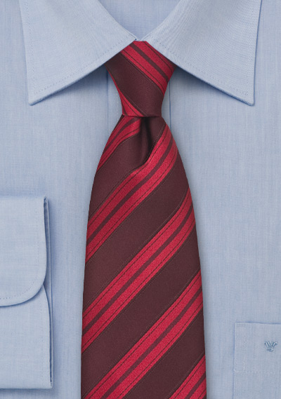 Ruby Red Striped Silk Tie
