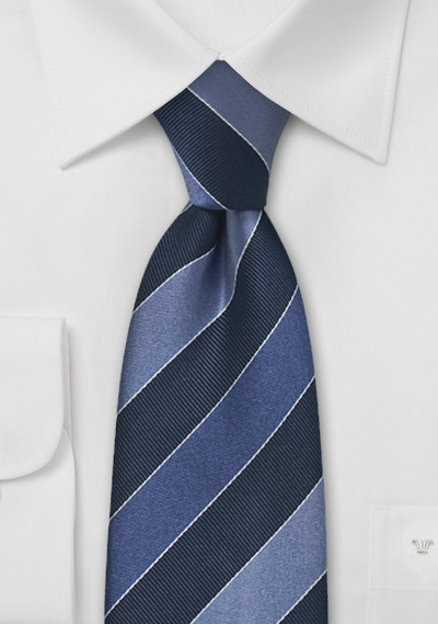 Striped Tie in Blue and Gray