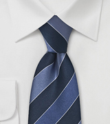 Grey and Blue Striped Tie
