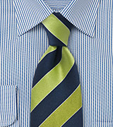 Pear Green and Navy Striped Tie