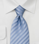 Baby Blue Silk Tie Plain light blue necktie with small structured stripes