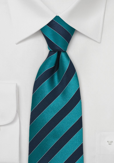 Teal and Royal Blue Silk Tie in XL Length