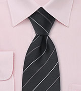 Black and Gray Striped Silk Tie