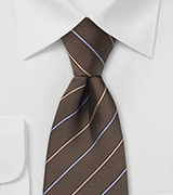 Brown Striped Silk Necktie