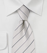 White and Silver Striped Silk Tie