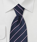 Dark Indigo Blue and Pink Tie