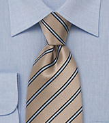 Beige Silk Tie Ice Blue Stripes