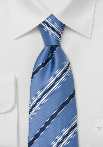 Blue Silk Neck Ties<br>Blue Striped Tie by Cavallieri