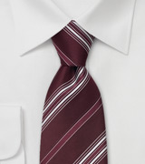 XL Designer Tie in Burgundy and White