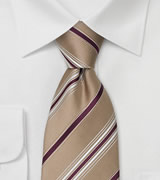 Tan & Burgundy Striped Tie in XL by Cavallieri