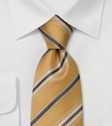 Sandtone Yellow Silk Ties Italian Striped Tie by Cavallieri