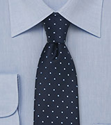 Navy Blue Polka Dot Tie by Chevalier