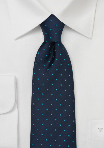Navy and Turquoise Blue Polka Dot Tie