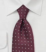 Bordeaux Red Tie with Dots