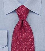 Cherry Red and Blue Silk Tie