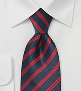 Dark Navy and Red Striped Tie