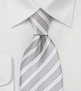 Striped Tie in Silver and Ivory