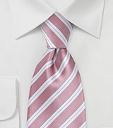 Striped XL Length Tie in Rose Petal Pink