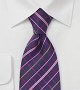Plum Purple Plaid Tie