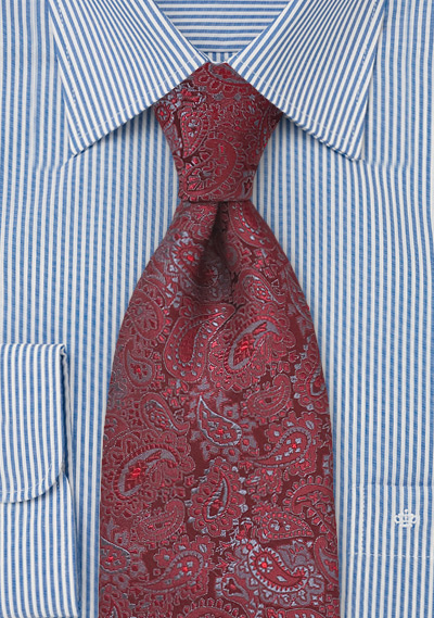 Red and Grey Paisley Tie
