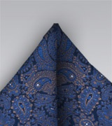 Silk Paisley Pocket Square in Blue and Bronze