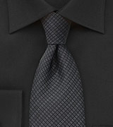 Patterned Tie in Black and Grey