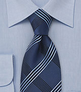 Asymmetrical Striped Tie in Blue