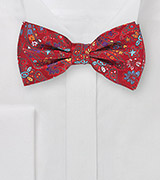 Pre-Tied Flower and Paisley Bow Tie in Red