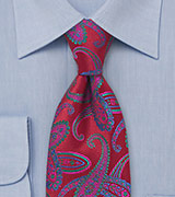 Modern Red Paisley Tie