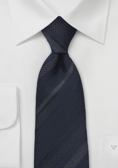 Striped Tie in Midnight Blue and Black