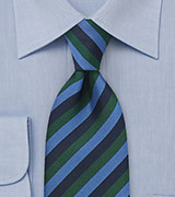 Striped Tie in Blue and Green