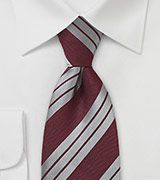 Grey and Burgundy Striped Tie