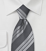Silver and Grey Striped Tie