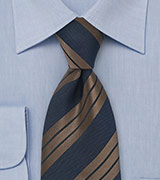 Striped Tie in Brown and Navy