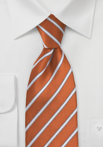Burnt Orange and White Tie in Extra Long