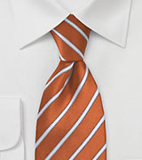 Burnt Orange and White Striped Tie