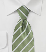 Moss Green and White Striped Tie