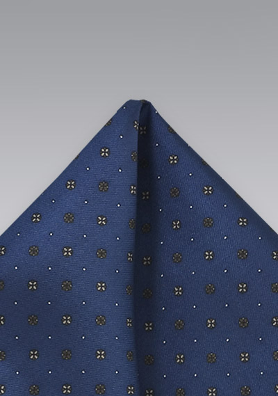 Patterned Pocket Square in Blue and Gold
