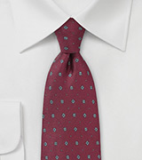 Maroon and Gray Floral Silk Tie