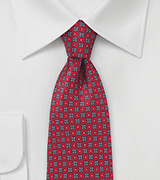 Floral Silk Tie in Crimson Red