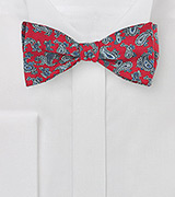 Elegant Red and Gray Paisley Bow Tie