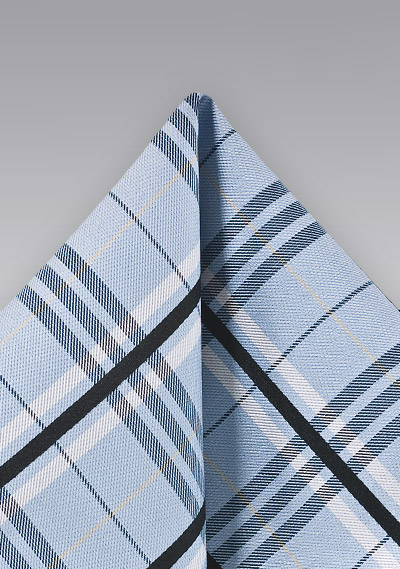 Plaid Pocket Square in Light Blue