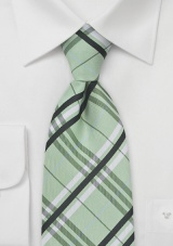Plaid Extra Long Tie in Pistachio Green