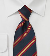 British Regimental Striped Necktie in Navy Blue, Gold, and Red